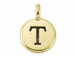 TierraCast Pewter Alphabet Charm Antique Gold Plated -  Tau