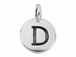 TierraCast Pewter Alphabet Charm Antique Silver Plated -  D