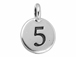 TierraCast Pewter Number Charm Antique Silver Plated - 5