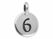 TierraCast Pewter Number Charm Antique Silver Plated - 6