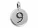 TierraCast Pewter Number Charm Antique Silver Plated - 9