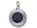 Purple Velvet - TierraCast Bright Rhodium Plated Pewter Stepped Bezel Charm with Swarovski Stone