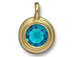 TierraCast Bright Gold Plated Pewter Stepped Charm with Swarovski Stone, Blue Zircon Decemeber Birthstone
