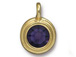 Purple Velvet - TierraCast Bright Gold Plated Pewter Stepped Bezel Charm with Swarovski Stone