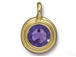 Tanzanite - TierraCast Bright Gold Plated Pewter Stepped Bezel Charm with Swarovski Stone, Decemeber Birthstone