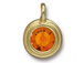 Tangerine - TierraCast Bright Gold Plated Pewter Stepped Bezel Charm with Swarovski Stone