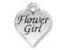 Pewter Heart with Flower Girl Charm
