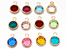 Rose Gold Plated Swarovski Channel Birthstone Charms (R-CC6G)