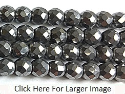 3mm Faceted Round Pyrite Bead Strand