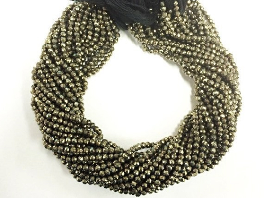 3.5mm Natural Pyrite Round Jaipur cut Faceted Beads Strand