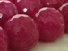 12mm Faceted Round Ruby Pink Jade Gemstone