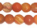 6mm Faceted Round Sunburst Orange Agate Bead Strand