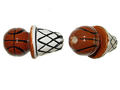 Ceramic Large Basketball and Net Bead - Bulk Pack of 100pcs
