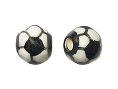 Ceramic Medium Soccer Ball Bead - Bulk Pack of 100pcs