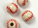 Ceramic Medium Baseball (Red Stitch) Bead