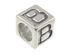 7mm Sterling Silver Greek Letter Bead or Alphabet Block Beta