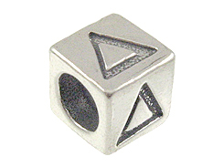 7mm Sterling Silver Greek Letter Bead or Alphabet Block Delta