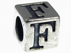 7mm Sterling Silver Letter F