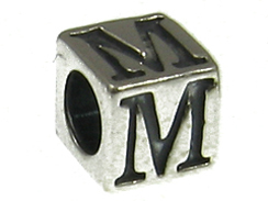7mm Sterling Silver Letter M