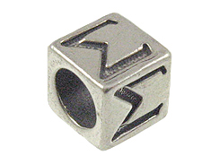 7mm Sterling Silver Greek Letter Bead or Alphabet Block Sigma