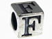 7mm Sterling Silver Letter Bead Alphabet Block F