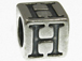7mm Sterling Silver Letter Bead Alphabet Block H