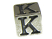 7mm Sterling Silver Letter Bead Alphabet Block K