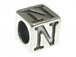 7mm Sterling Silver Letter Bead Alphabet Block N
