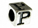 7mm Sterling Silver Letter Bead Alphabet Block P