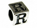 7mm Sterling Silver Letter Bead Alphabet Block R