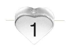 6.6x7.6mm Heart Shape Sterling Silver Number 1