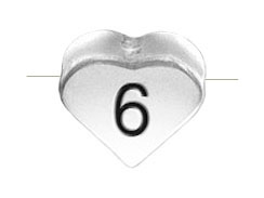 6.6x7.6mm Heart Shape Sterling Silver Number 6