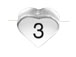 6.6x7.6mm Heart Shape Sterling Silver Number 3