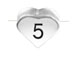 6.6x7.6mm Heart Shape Sterling Silver Number 5