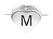 6.6x7.6mm Heart Shape Sterling Silver Letter M