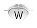 6.6x7.6mm Heart Shape Sterling Silver Letter W