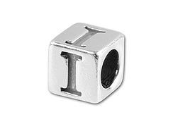 5.5mm Sterling Silver Alphabet Bead - I