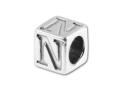 5.5mm Sterling Silver Alphabet Bead - N
