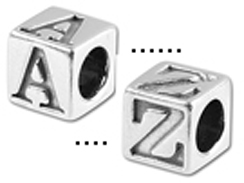 5.5mm Sterling Silver Alphabet Bead - Blocks (with 4mm hole) Starter Set of 100 Assorted Letter Blocks. Click code above for mor