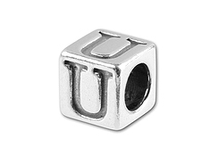 5.5mm Sterling Silver Alphabet Bead - U