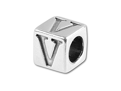 5.5mm Sterling Silver Alphabet Bead - V (Bulk Pack of 50)