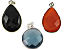 Sterling Silver Gemstone Bezel Pendants