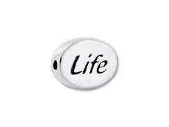 LIFE Sterling Silver Oval Message Bead