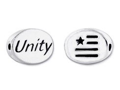 "UNITY2 Sterling Silver Oval Message Bead <b><FONT COLOR=""FF0000"">CLEARANCE SALE</FONT>"