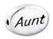 AUNT Sterling Silver Oval Message Bead