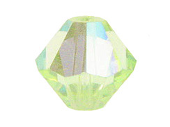 6mm Chrysolite AB - Swarovski 5301/5328 Bicone Beads Factory Pack of 360