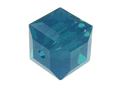 12 Caribbean Blue Opal - 6mm Swarovski Faceted Cube Beads