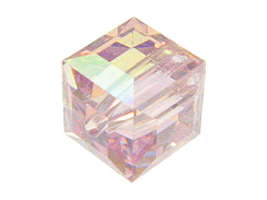 6 Light Amethyst AB - 8mm Swarovski Faceted Cube Beads