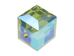 6 Olivine AB - 8mm Swarovski Faceted Cube Beads