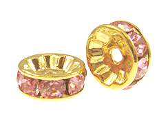 8mm Swarovski Rhinestone Rondelles Gold Plated Light Rose Bulk Pack of 144